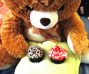 bear, colourful, and cupcake image
