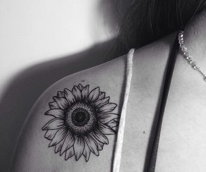 tattoo, sunflower, and black and white image