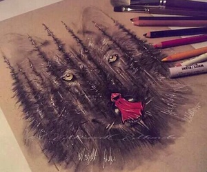 art, wolf, and drawing image