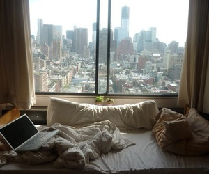 city, bed, and room image
