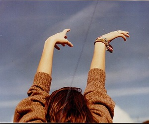 girl, sky, and hands image