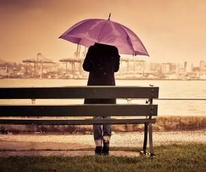 umbrella, rain, and alone image