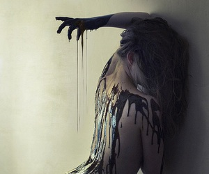 paint, woman, and black image