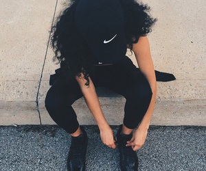 nike, black, and hair image