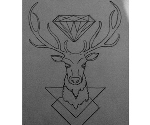 black and white, deer, and diamond image