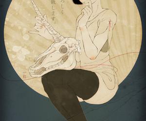 girl, horn, and skull image