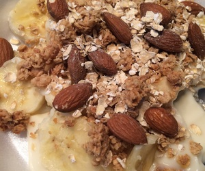 almonds, banana, and breakfast image