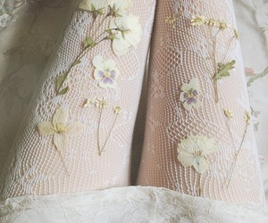 flowers, white, and lace image