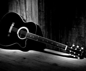 music, guitar, and black image