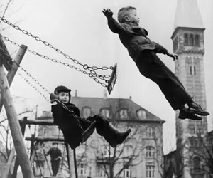 child, black and white, and kids image