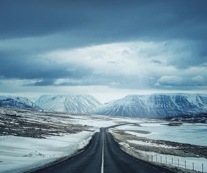 road, snow, and mountains image