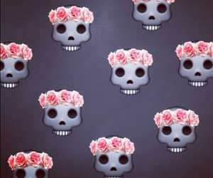 skull, flowers, and background image