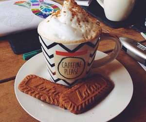 biscuit, coffee, and drink image
