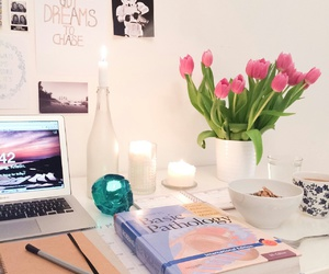 study, desk, and flowers image