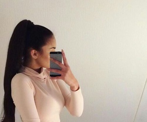 beautiful, ponytail, and brunette image