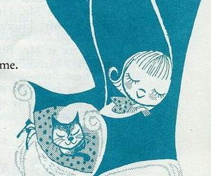 cat, illustration, and sleep image