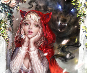 fairy tale, girl, and red riding hood image