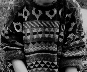 black and white, sweater, and b&w image
