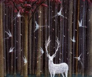 deer, fantasy, and forest image