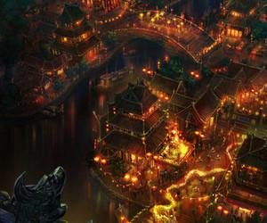 anime, lights, and city image