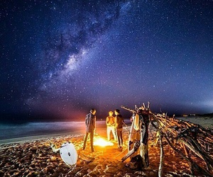 beach, milky way, and nature image