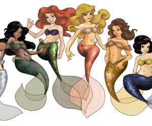 disney princess, mermaids, and cute image