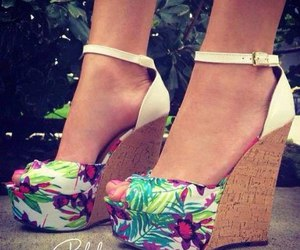 shoes, floral, and wedges image