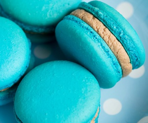 beauty, sweet, and blue macaroons image