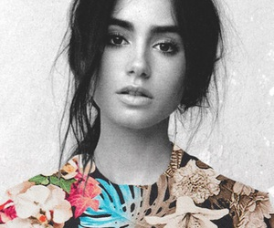 lily collins, black and white, and flowers image