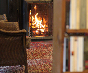 book, fire, and cozy image
