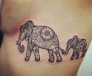 tattoo, elephant, and mandala image