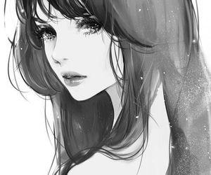anime, big eyes, and black hair image