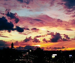 sky, city, and sunset image