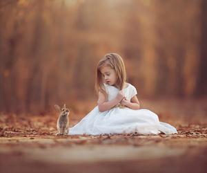 girl, rabbit, and kids image