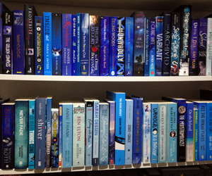 blue, bookcase, and books image