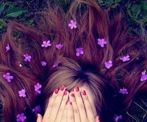 flowers, hair, and purple image