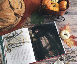 pumpkin, book, and harry potter image