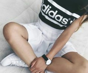 adidas, black and white, and combination image