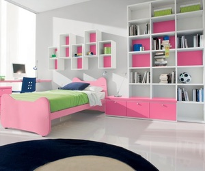 bedroom, pink, and green image