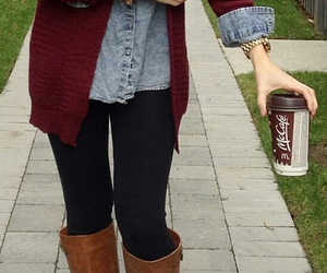 black jeans, brown boots, and coffee image