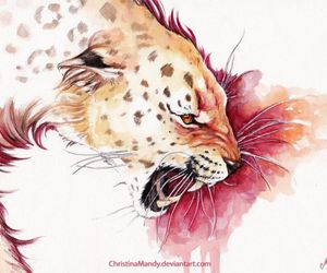 art, drawing, and leopard image