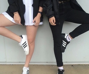 adidas, black, and white image