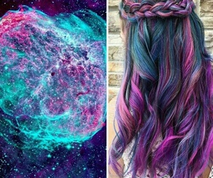 hair, galaxy, and blue image