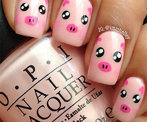 nails, pig, and pink image