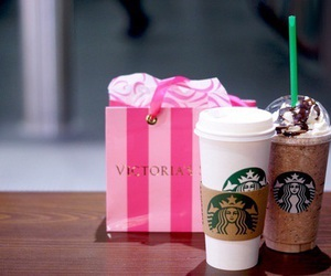 starbucks, Victoria's Secret, and pink image