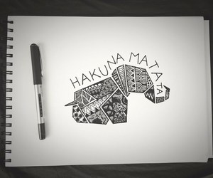 hakuna matata, elephant, and drawing image
