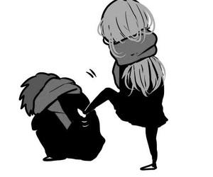 anime girl, anime black and white, and anime couple image
