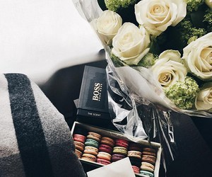 food, macarons, and flowers image