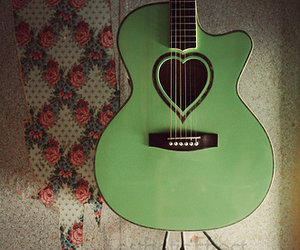guitar, green, and heart image