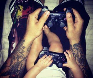 baby, tattoo, and game image